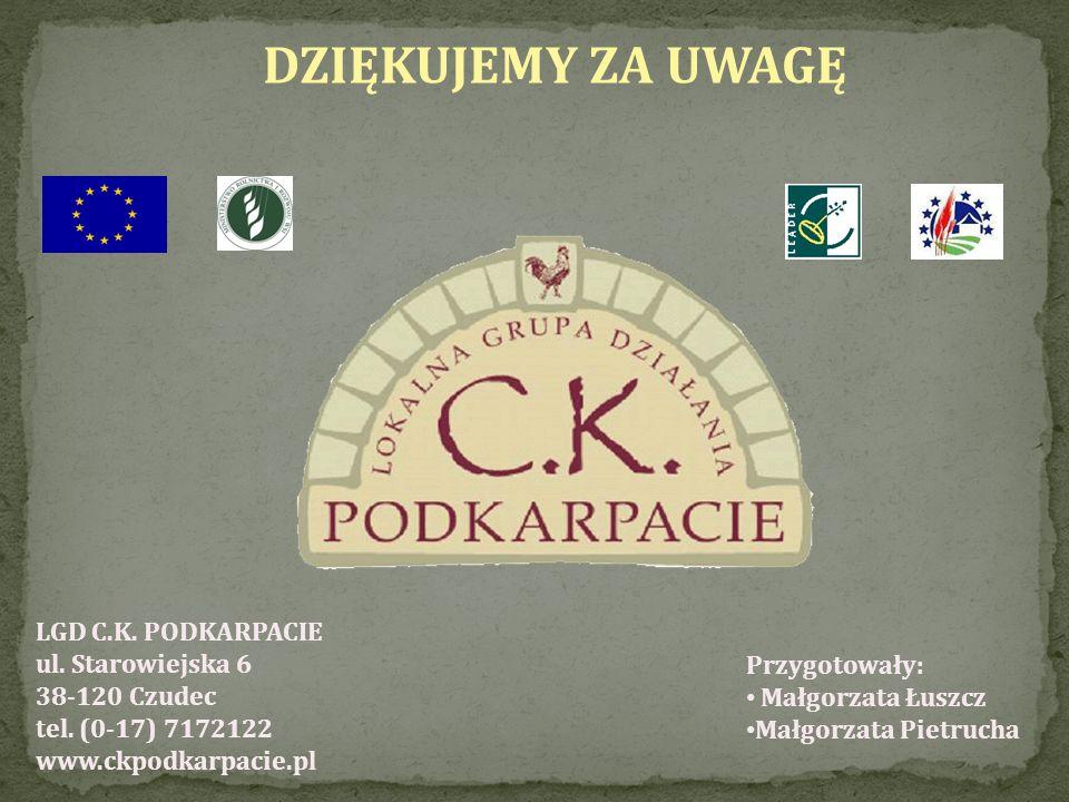 DZIĘKUJEMY ZA UWAGĘ LGD C.K. PODKARPACIE ul. Starowiejska 6 38-120 Czudec tel. (0-17) 7172122 www.ckpodkarpacie.pl.
