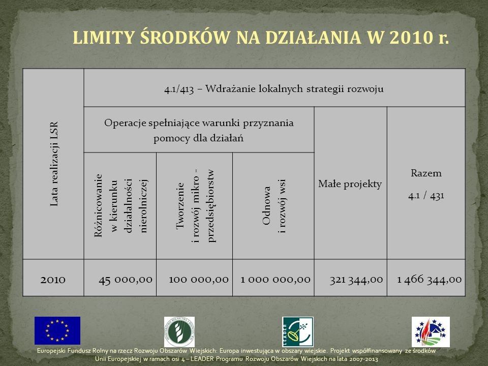 LIMITY ŚRODKÓW NA DZIAŁANIA W 2010 r.