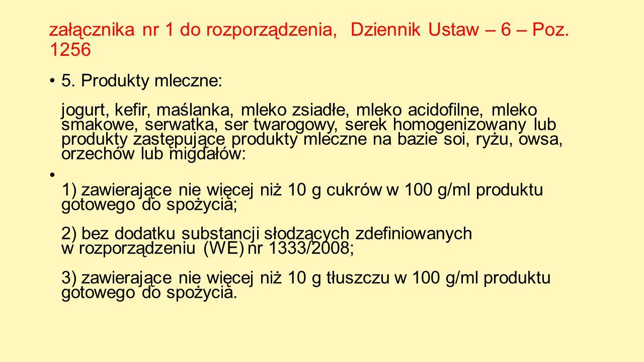 załącznika nr 1 do rozporządzenia, Dziennik Ustaw – 6 – Poz. 1256