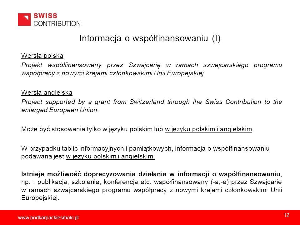 Informacja o współfinansowaniu (I)