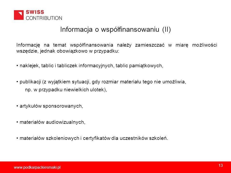 Informacja o współfinansowaniu (II)