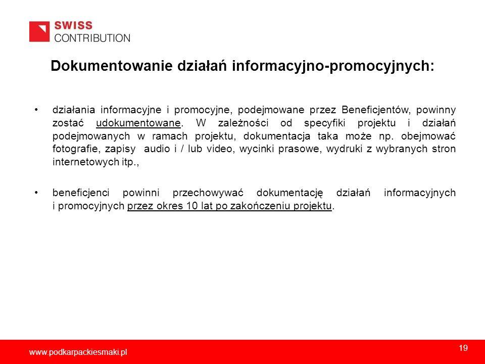 Dokumentowanie działań informacyjno-promocyjnych: