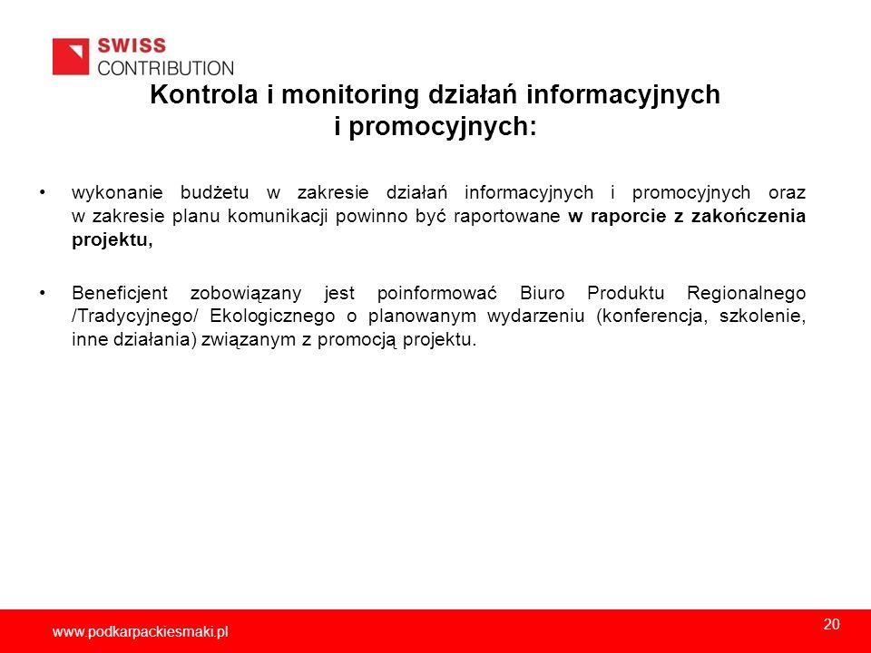 Kontrola i monitoring działań informacyjnych i promocyjnych: