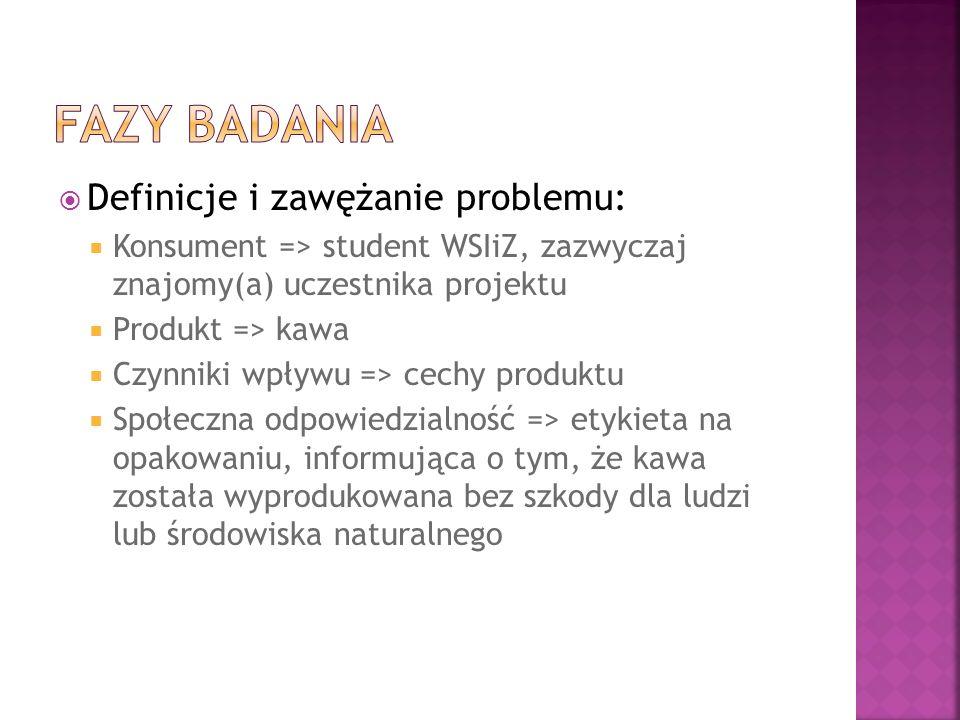 Fazy badania Definicje i zawężanie problemu:
