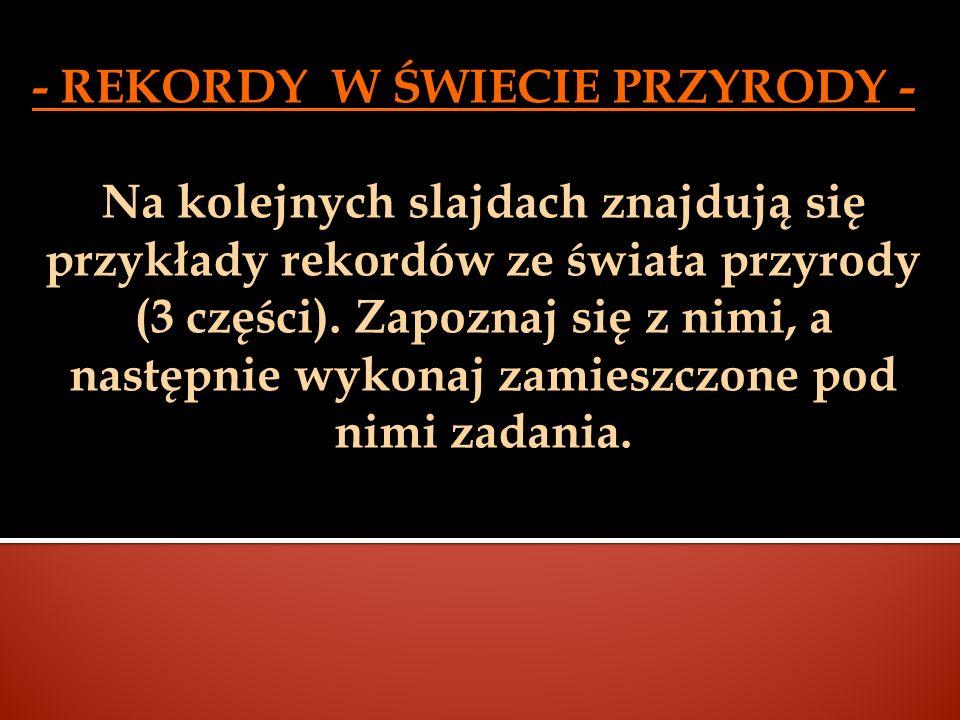 - REKORDY W ŚWIECIE PRZYRODY -