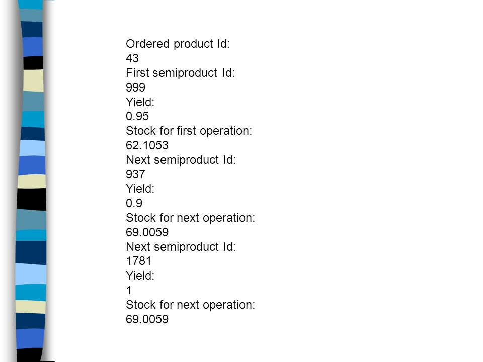 Ordered product Id:43. First semiproduct Id: 999. Yield: 0.95. Stock for first operation: 62.1053. Next semiproduct Id: