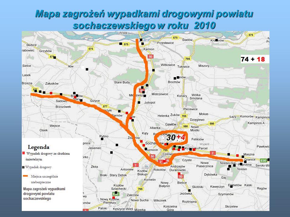 Mapa zagrożeń wypadkami drogowymi powiatu sochaczewskiego w roku 2010