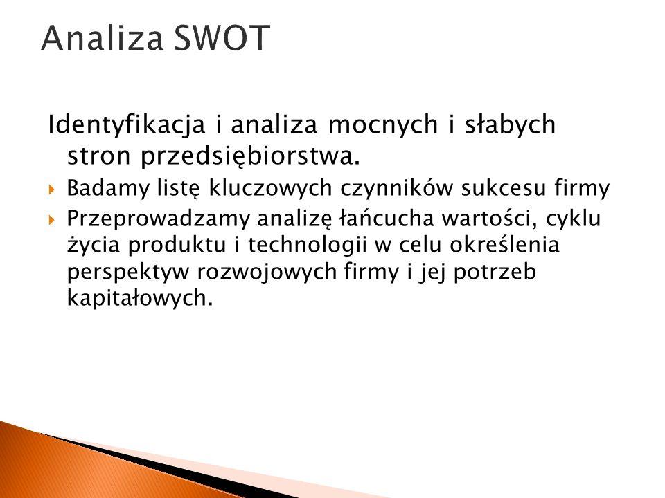 Analiza SWOTIdentyfikacja i analiza mocnych i słabych stron przedsiębiorstwa. Badamy listę kluczowych czynników sukcesu firmy.