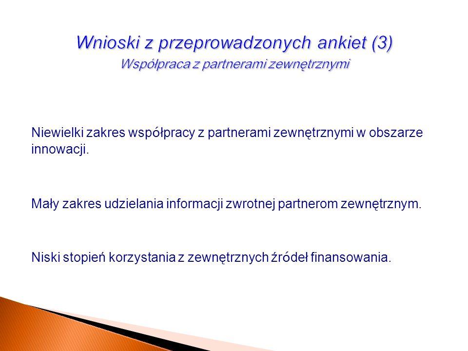 Wnioski z przeprowadzonych ankiet (3) Współpraca z partnerami zewnętrznymi