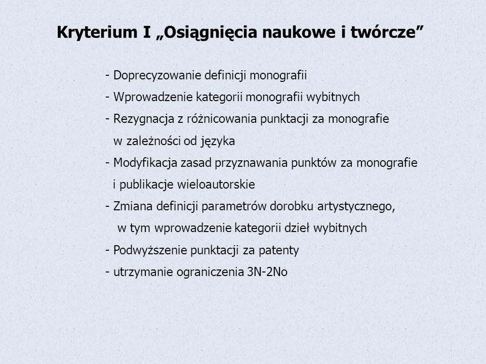 """Kryterium I """"Osiągnięcia naukowe i twórcze"""