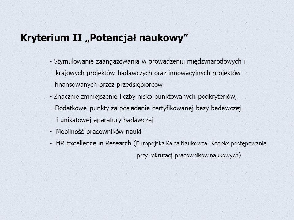 """Kryterium II """"Potencjał naukowy"""