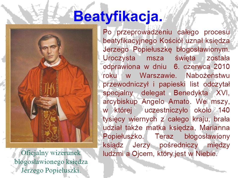 Oficjalny wizerunek błogosławionego księdza Jerzego Popiełuszki.