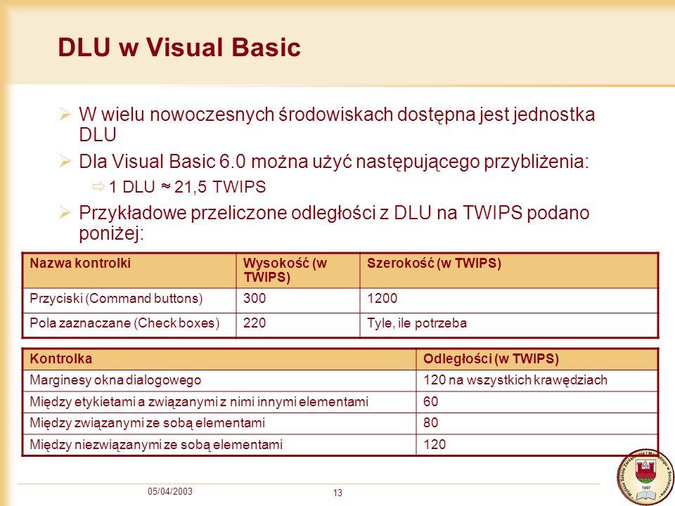 DLU w Visual Basic W wielu nowoczesnych środowiskach dostępna jest jednostka DLU. Dla Visual Basic 6.0 można użyć następującego przybliżenia:
