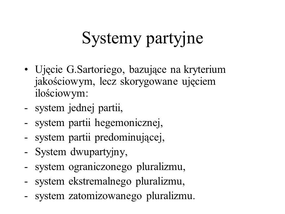Systemy partyjne Ujęcie G.Sartoriego, bazujące na kryterium jakościowym, lecz skorygowane ujęciem ilościowym: