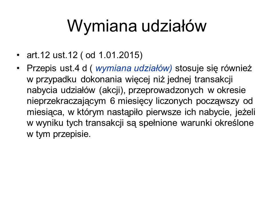 Wymiana udziałów art.12 ust.12 ( od 1.01.2015)