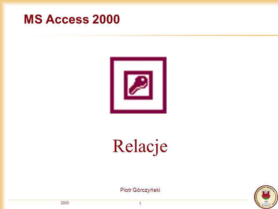 MS Access 2000 Relacje Piotr Górczyński 2005