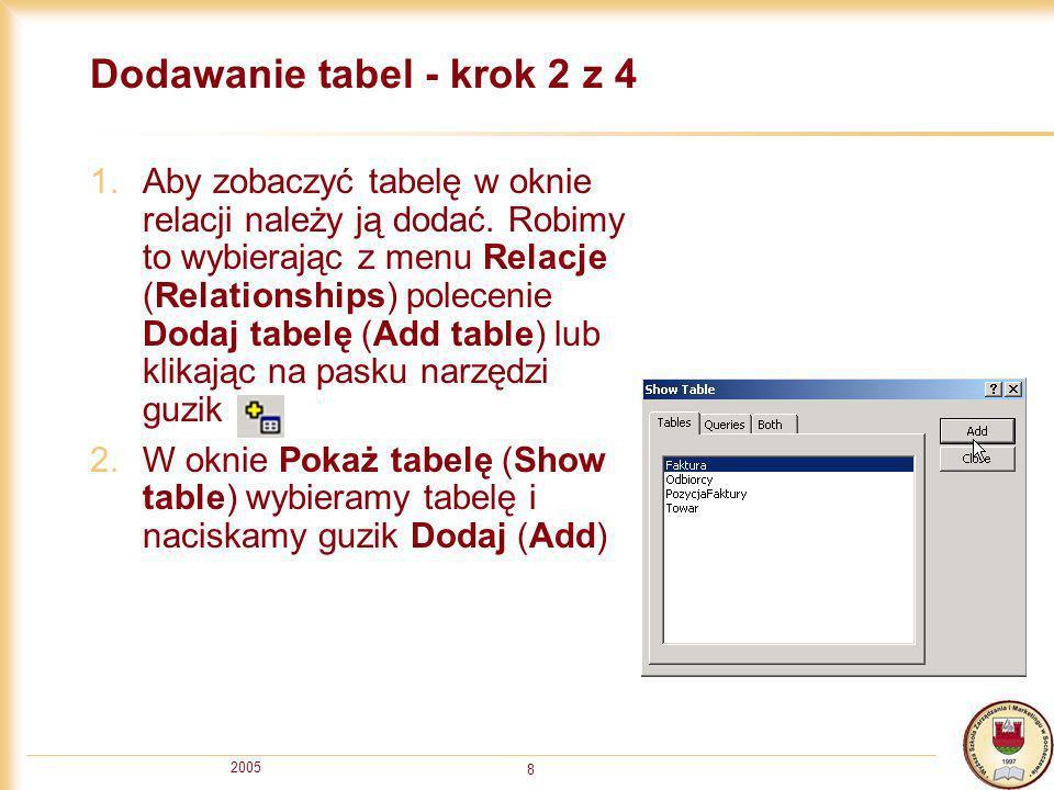 Dodawanie tabel - krok 2 z 4