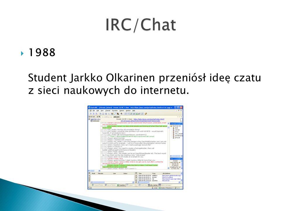 IRC/Chat 1988 Student Jarkko Olkarinen przeniósł ideę czatu z sieci naukowych do internetu.