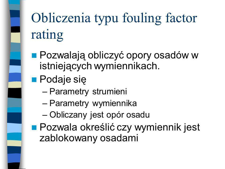 Obliczenia typu fouling factor rating