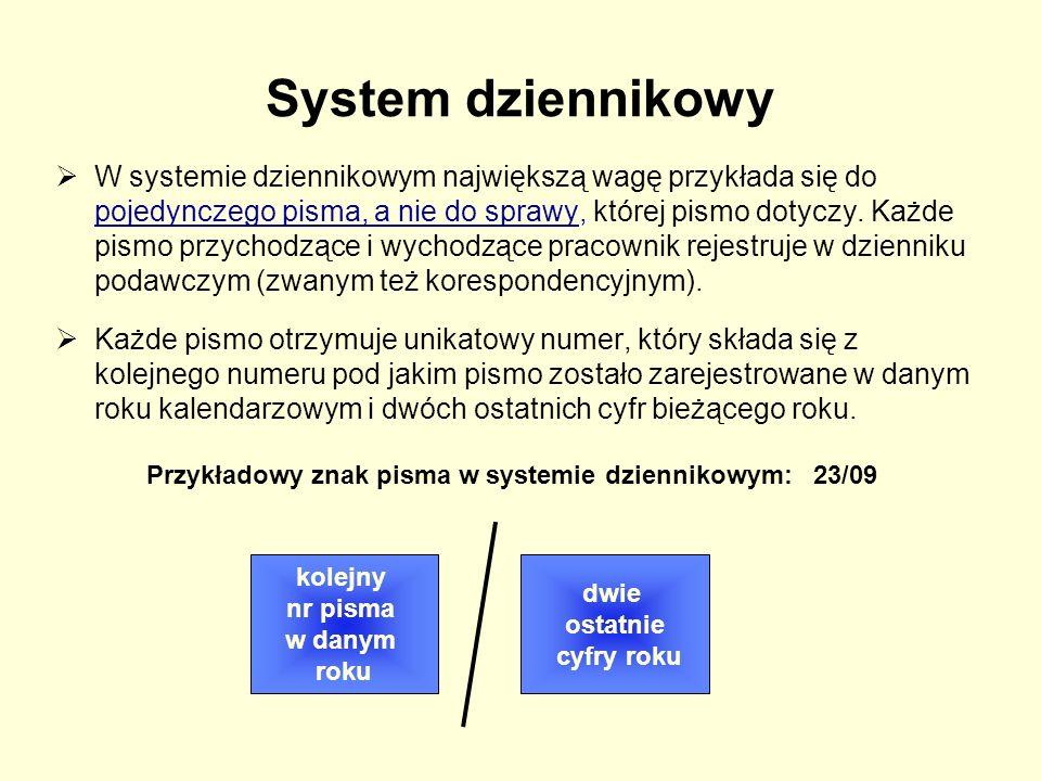 Przykładowy znak pisma w systemie dziennikowym: 23/09
