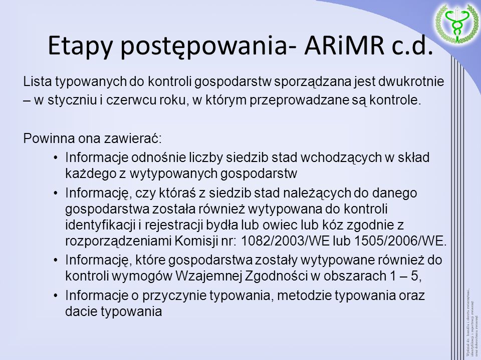 Etapy postępowania- ARiMR c.d.