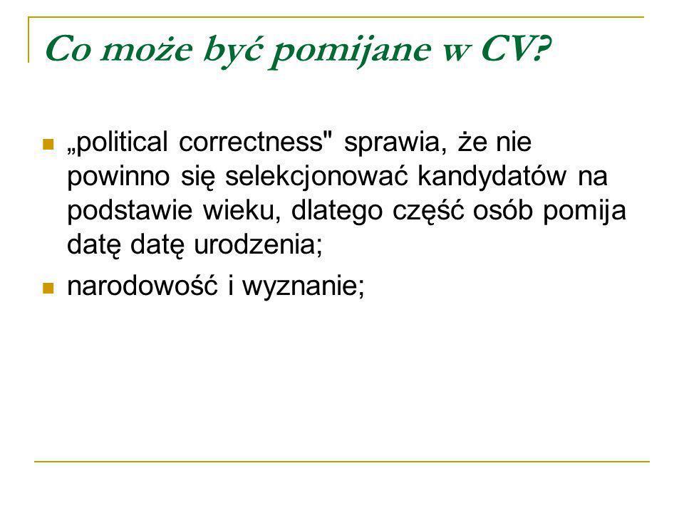Co może być pomijane w CV