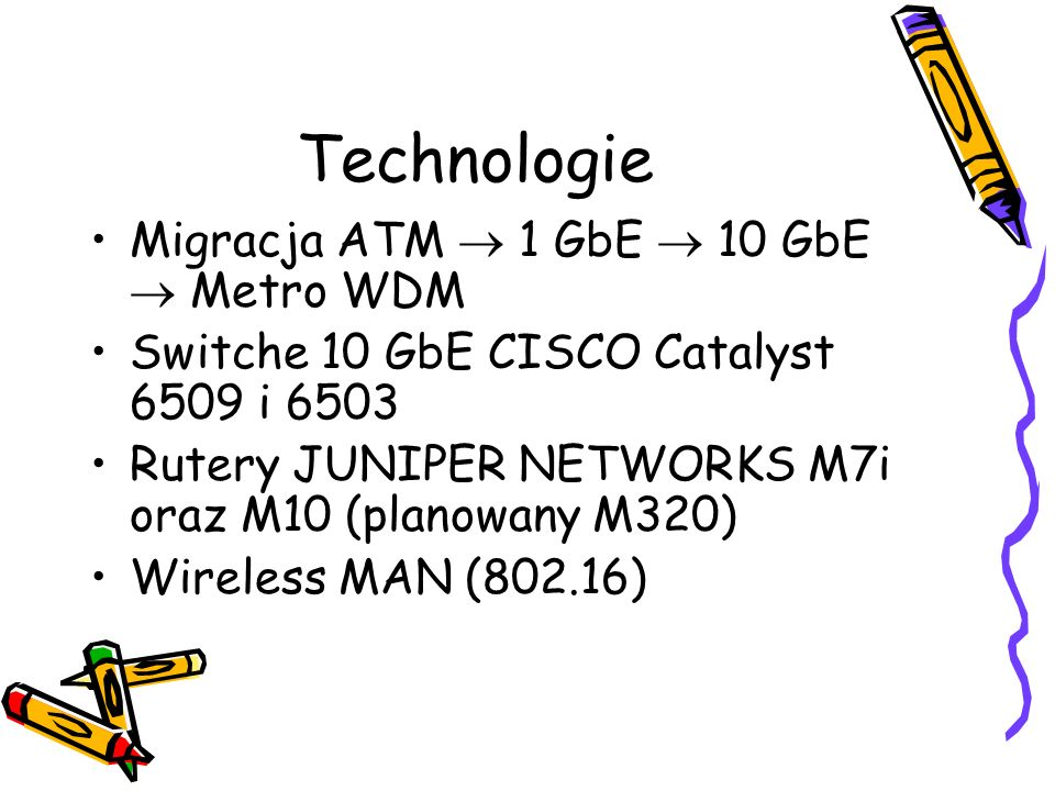 Technologie Migracja ATM  1 GbE  10 GbE  Metro WDM