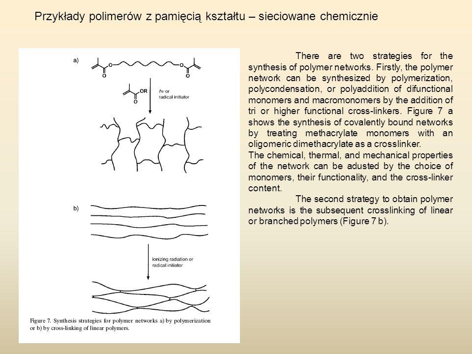 Przykłady polimerów z pamięcią kształtu – sieciowane chemicznie