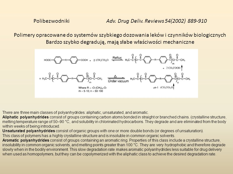 Polibezwodniki Adv. Drug Deliv. Reviews 54(2002) 889-910