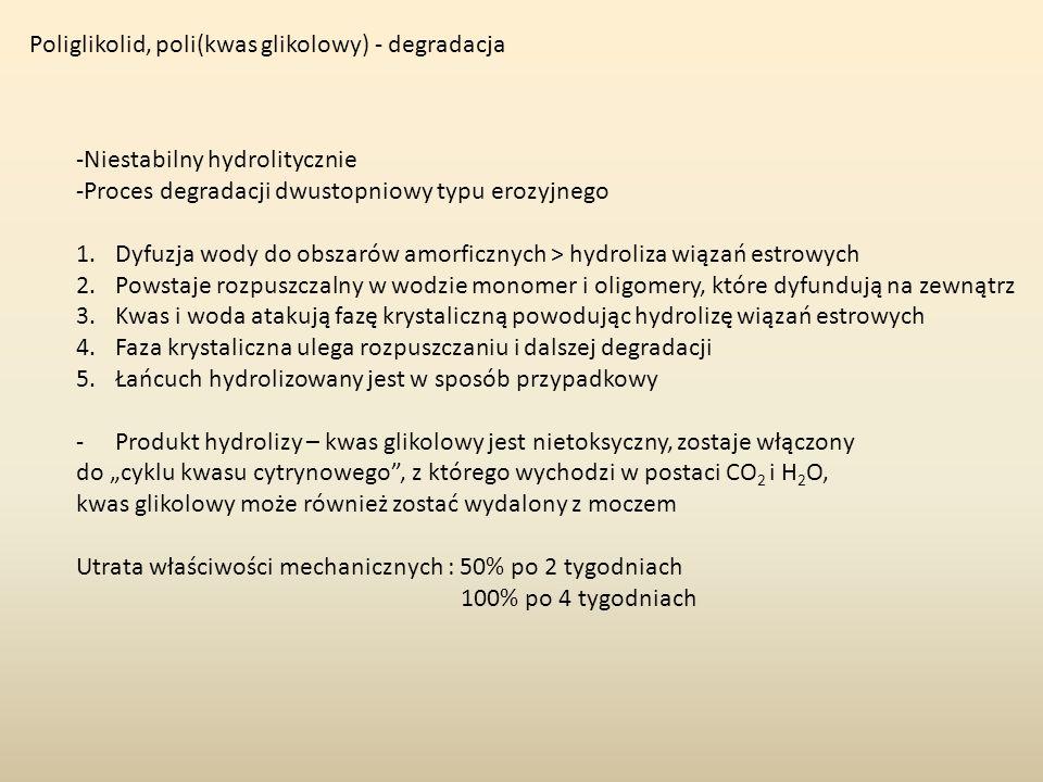 Poliglikolid, poli(kwas glikolowy) - degradacja