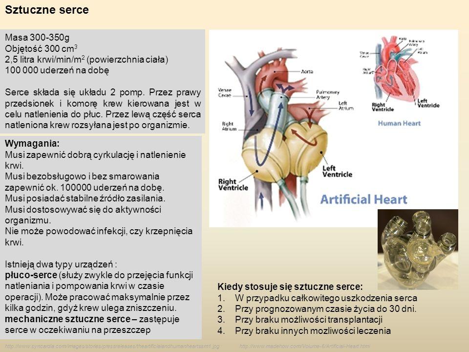Sztuczne serce Masa 300-350g Objętość 300 cm3
