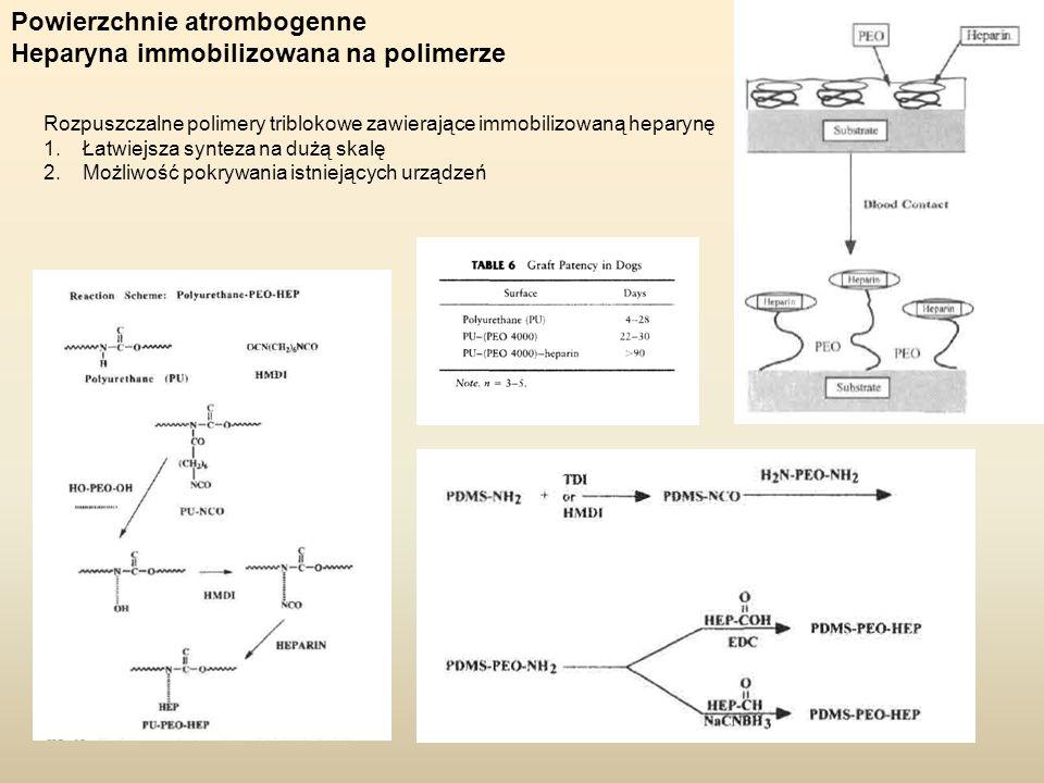 Powierzchnie atrombogenne Heparyna immobilizowana na polimerze
