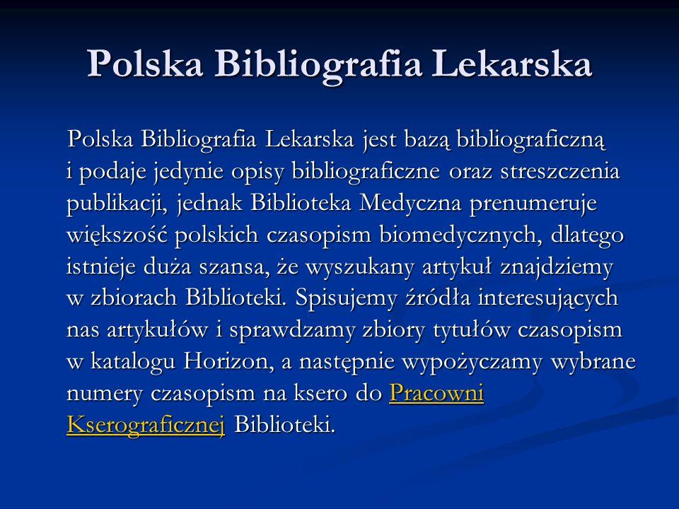 Polska Bibliografia Lekarska