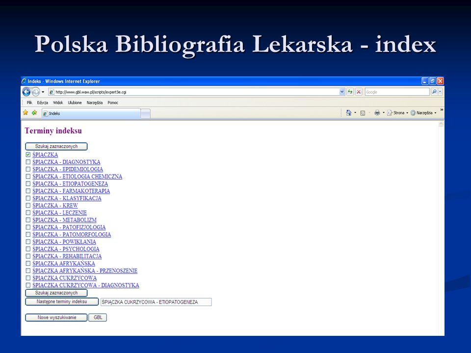 Polska Bibliografia Lekarska - index