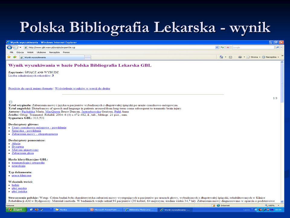 Polska Bibliografia Lekarska - wynik