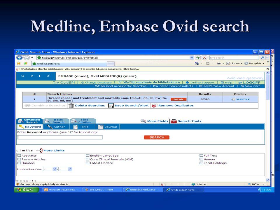 Medline, Embase Ovid search