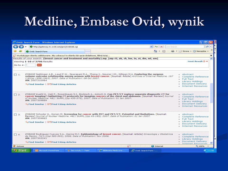 Medline, Embase Ovid, wynik