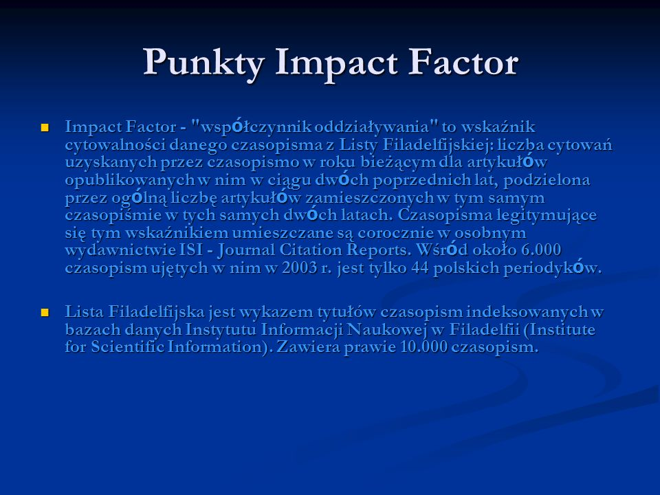 Punkty Impact Factor