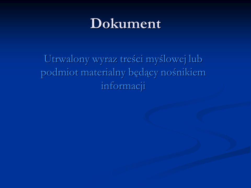 Dokument Utrwalony wyraz treści myślowej lub podmiot materialny będący nośnikiem informacji