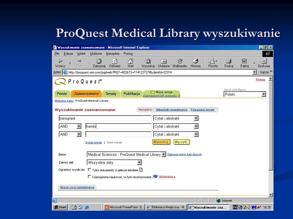 ProQuest Medical Library wyszukiwanie