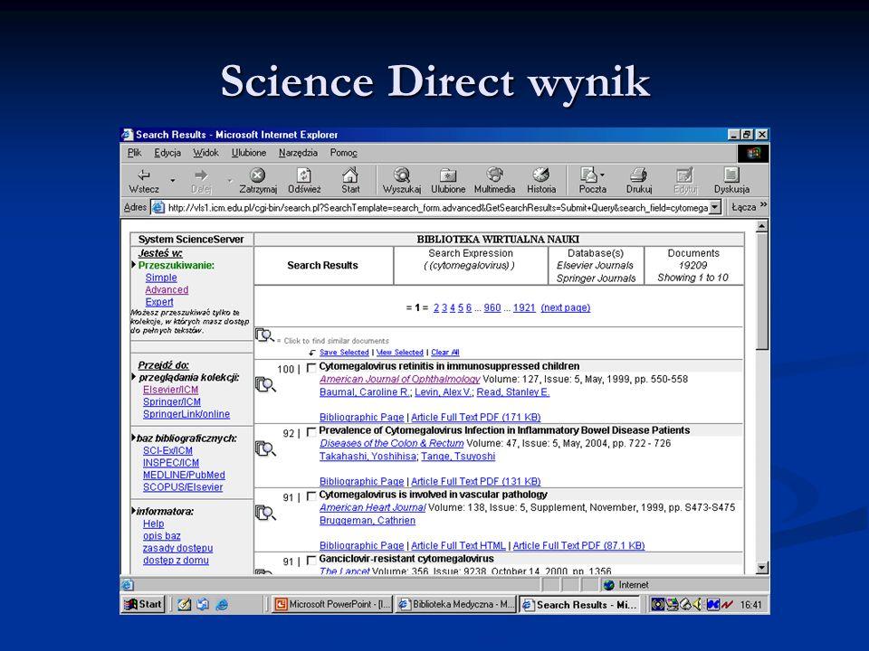 Science Direct wynik