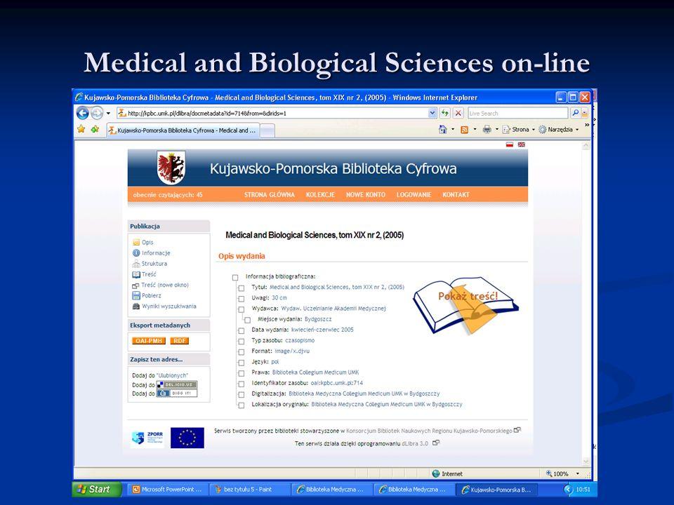Medical and Biological Sciences on-line