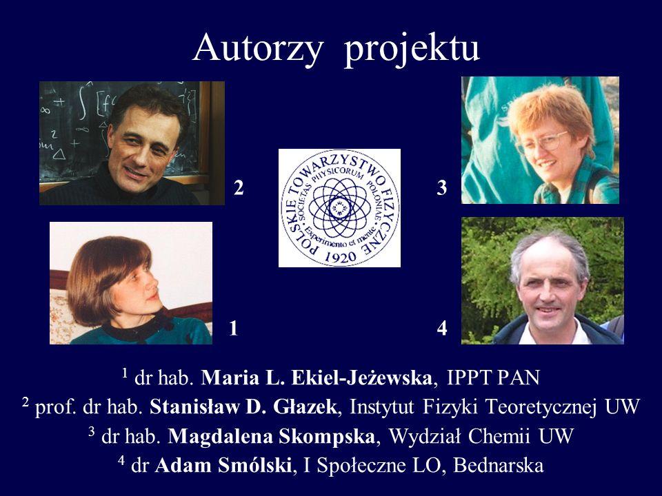 Autorzy projektu 2 3 1 4 1 dr hab. Maria L. Ekiel-Jeżewska, IPPT PAN