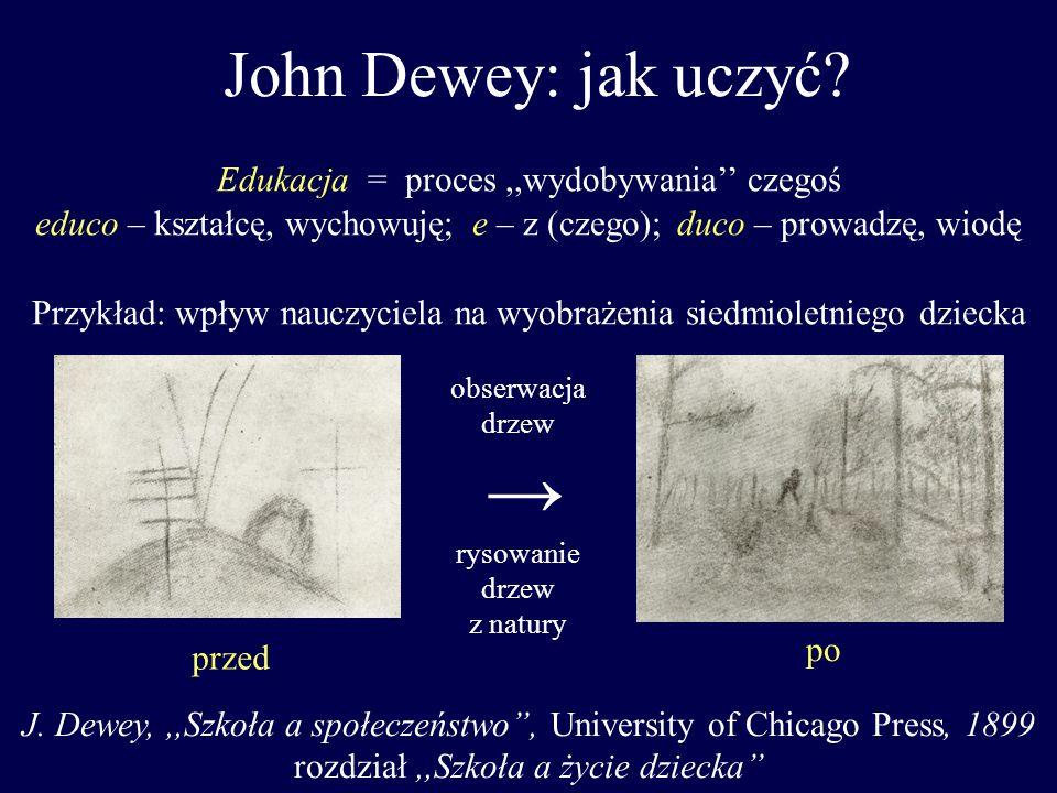 John Dewey: jak uczyć → Edukacja = proces ,,wydobywania'' czegoś