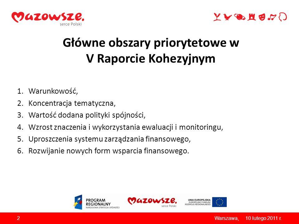 Główne obszary priorytetowe w V Raporcie Kohezyjnym