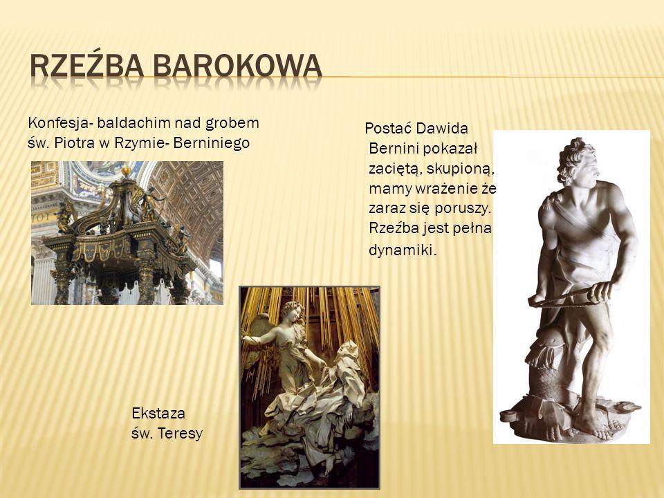 Rzeźba Barokowa Konfesja- baldachim nad grobem św. Piotra w Rzymie- Berniniego.