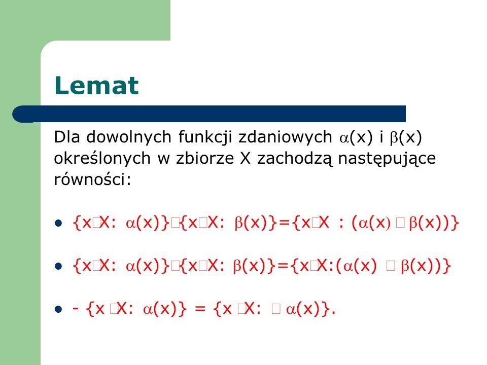 Lemat Dla dowolnych funkcji zdaniowych a(x) i b(x)