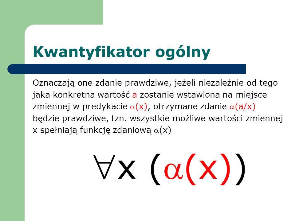 x (a(x)) Kwantyfikator ogólny