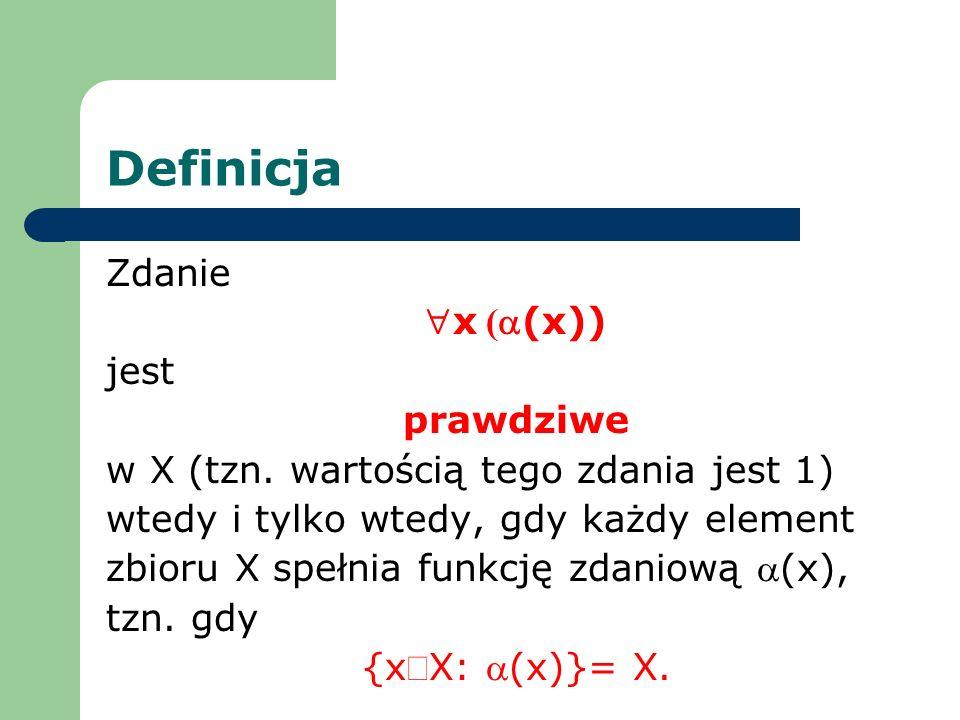 Definicja Zdanie x (a(x)) jest prawdziwe
