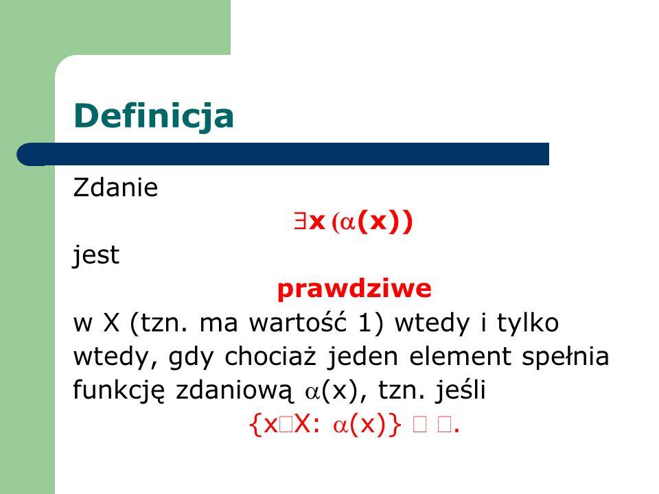 Definicja Zdanie $x (a(x)) jest prawdziwe